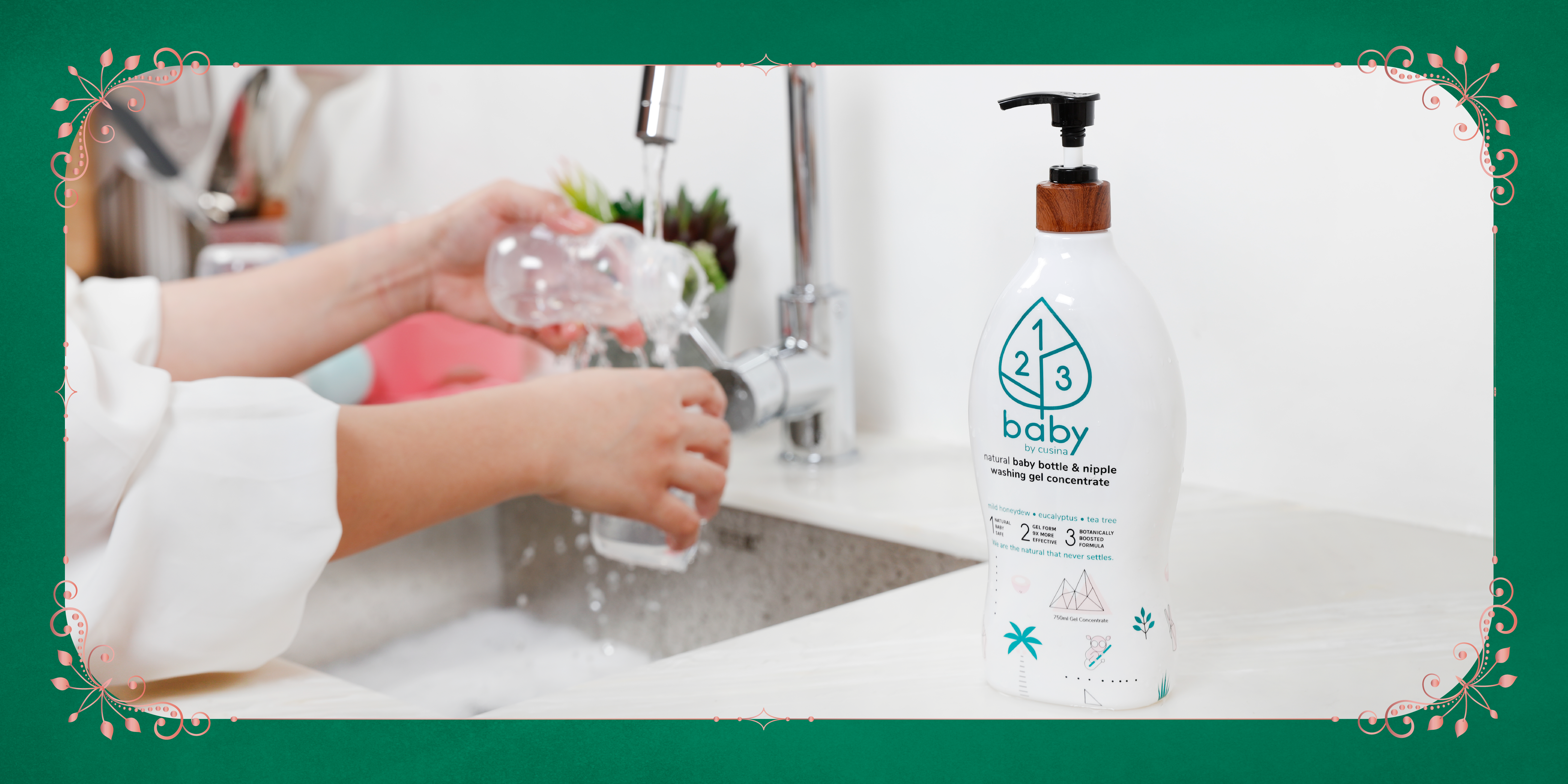 Natural Baby safe, Gel form 9x more power (LAB-certified). Botanically boosted formula- power of tea tree and eucalyptus essential oils.